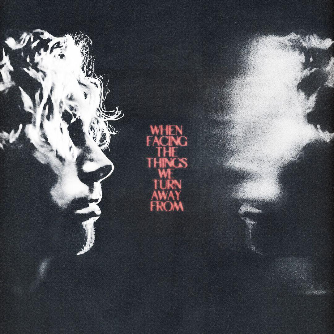 Capa do álbum When Facing The Things We Turn Away From. O cantor Luke Hemmings está de perfil no lado esquerdo da foto, olhando para a direita. Ele é branco e possui cabelos curtos cacheados. Os cachos cobrem seus olhos e sua boca está fechada, triste. Seu rosto está iluminado apenas de cima. Do lado direito da foto, está o reflexo do rosto de Luke com a área dos olhos borrados. No meio das duas imagens, está escrito o nome do álbum When Facing The Things We Turn Away From, um em cada linha, em letras maiúsculas e vermelhas, como um letreiro de cinema antigo. O fundo é preto desbotado.