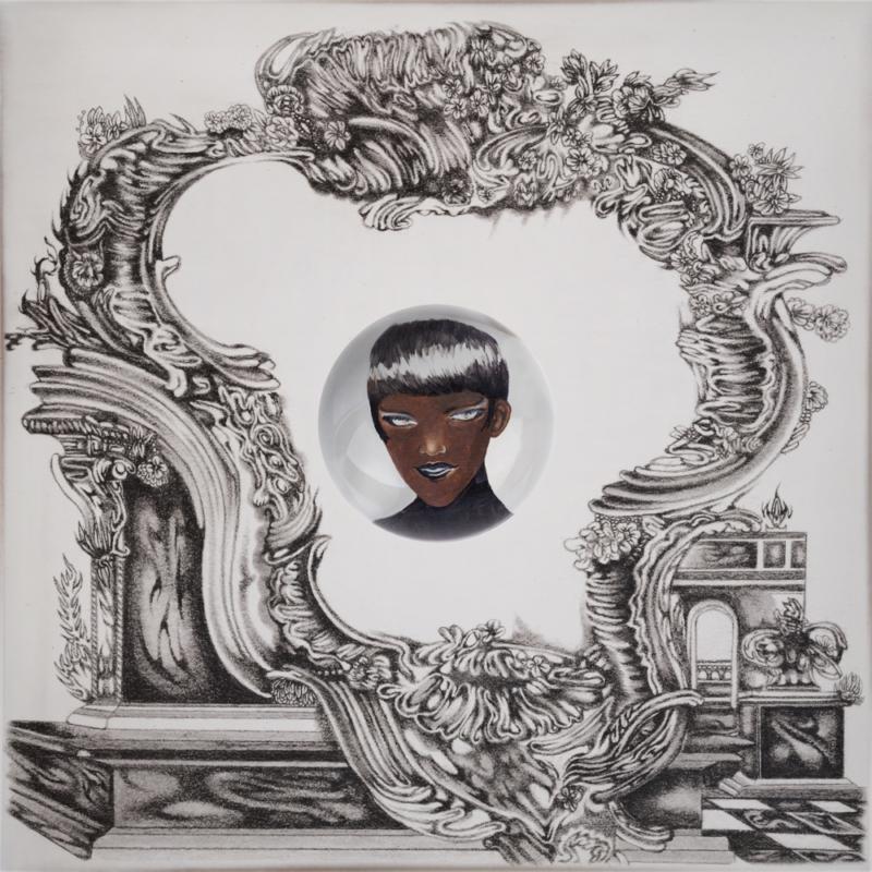 Capa do álbum The Asymptotical World EP: A imagem é um desenho que mostra ao centro o desenho do rosto de uma pessoa negra de roupa e batom pretos, com cabelo curto até a altura da orelha. A imagem é rodeada por uma moldura retorcida e cheia de curvas em branco e preto, com rebuscados rococó, que derrete sobre um suporte.