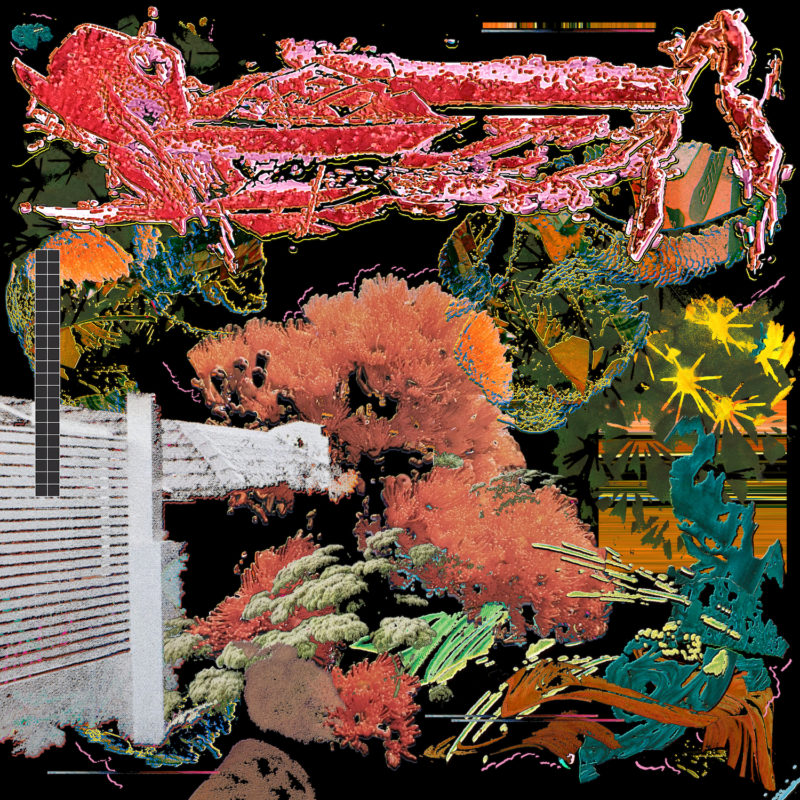 Capa do single Cruising, da banda black midi. Mostra um conjunto de imagens e formas indistinguíveis sobre um fundo preto. As formas se espalham e sobrepõem, apresentando diferentes cores como um vermelho vibrante, verde musgo, laranja e branco, além de texturas variadas.