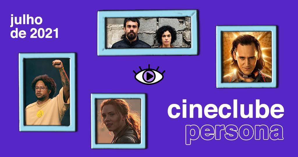 """Arte quadrada de fundo na cor roxa. No canto supeior esquerdo, foi adicionado o texto """"Julho de 2021"""". No centro da imagem, foi adicionado o logo do Persona, e a íris do olho foi pintada na cor lilás. No canto inferior direito, foi adicionado o texto """"cineclube persona"""". Espalhados pela arte, foram adicionadas quatro fotos com molduras na cor azul claro. As fotos são de produções audiovisuais, sendo: a série Loki da Marvel, com uma foto do rosto do ator Tom Hiddleston que o interpreta. Ele é um homem branco de cabelos pretos, olhos azuis e encara com expressão séria e debochada; O fundo é dourado e brilha como uma auréola atrás da cabeça dele. O filme AmarElo - Ao vivo, com uma foto do rapper Emicida, responsável pelo show do filme. Ele é um homem negro, de cabelo black power e barba rente ao roso, e óculos de grau. Ele usa uma camiseta bege com um círculo amarelo no peito, sua expressão é séria e ele tem um braço estendido para cima, serrando o punho como símbolo de luta. Viúva Negra, filme da Marvel, com uma foto de rosto da atriz Scarlett Johanssen que a interpreta. Ela é uma mulher branca de cabelos ruivos ligeiramente presos atrás da cabeça. Sua expressão é meio sorridente e ela esta de lado, curvando o rosto. E Os Ausentes, primeira série brasileira da HBO Max, com a foto do rosto do casal protagonista Raul e Maria Júlia, interpretados por Erom Cordeiro e Maria Flor. Na imagem, ambos estão um do lado do outro, encostados em uma parede de tijolo cinza. Raul é um homem branco de cabelos pretos e barba comprida, ele veste uma jaqueta preta e sua expressão é séria. Maria Júlia é uma mulher branca de cabelos pretos cacheados na altura dos ombros, sua expressão é séria."""