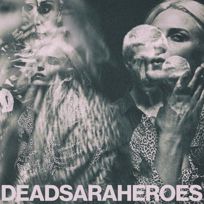 Capa do single Heroes, da banda Dead Sara. Os integrantes da banda, Emily Armstrong, Siouxsie Medley e Sean Friday, em preto e branco desbotado, em imagens sobrepostas umas às outras, com o título da banda e do single na parte inferior, em sequência e sem espaços, em letras brancas e maiúsculas.