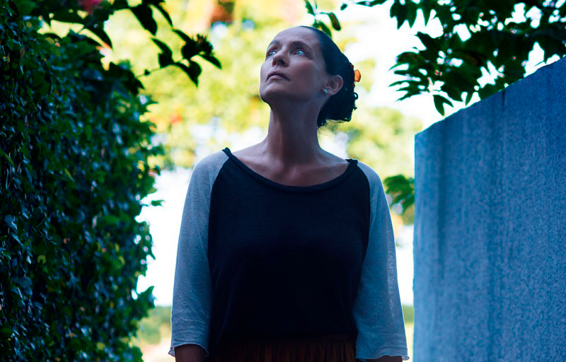 """Foto que compõe o pôster de """"Aquarius"""". Na imagem, temos Clara, a personagem de Sônia Braga, uma mulher de meia idade com a pele clara, o cabelo preso e usa uma blusa preta e cinza de manga comprida.. Clara está olhando para cima, com a cabeça inclinada para a esquerda. Ao fundo, entre ela, temos dois muros: um que parece ser um jardim vertical, à esquerda, e o outro, de concreto, à direita. A foto foi tirada de dia."""