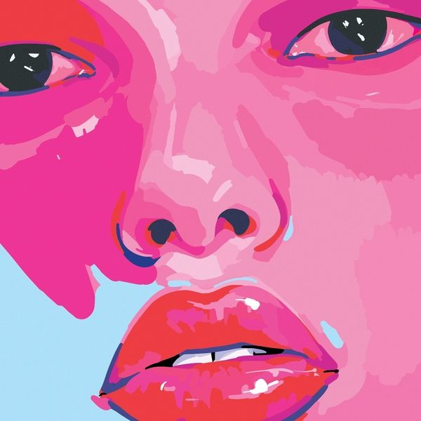 Capa do EP her. Vê-se um rosto. Olhos, nariz e boca. Uma das bochechas é azul claro. Todo o resto da imagem é rosa.