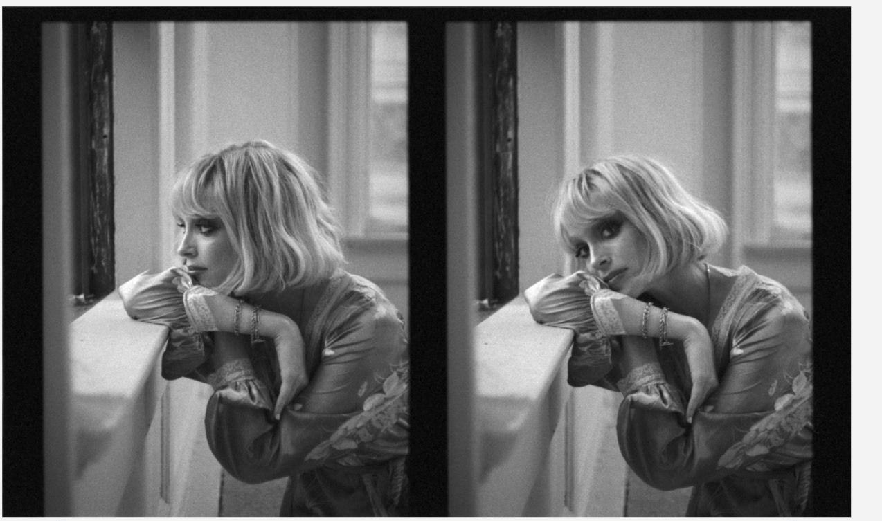 Dois retratos ao lado um do outro, formando uma única fotografia em modo paisagem. Fotografia em preto e branco, com filtro granulado envelhecido. Em ambas as fotos podemos ver St. Vincent debruçada sobre uma janela. Na primeira, ela admira o exterior. Na segunda, ela encara a câmera. Ela veste peruca loira chanel, robe de cetim florido e pulseiras.