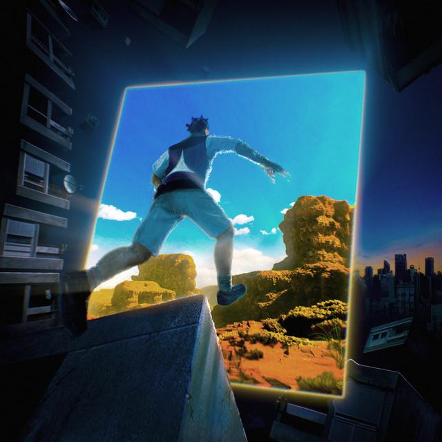 Capa do single Thelma + Louise. A capa mostra, em um visual de gráfico de jogo, um menino pulando para dentro do que aparenta ser um portal para um outro mundo.
