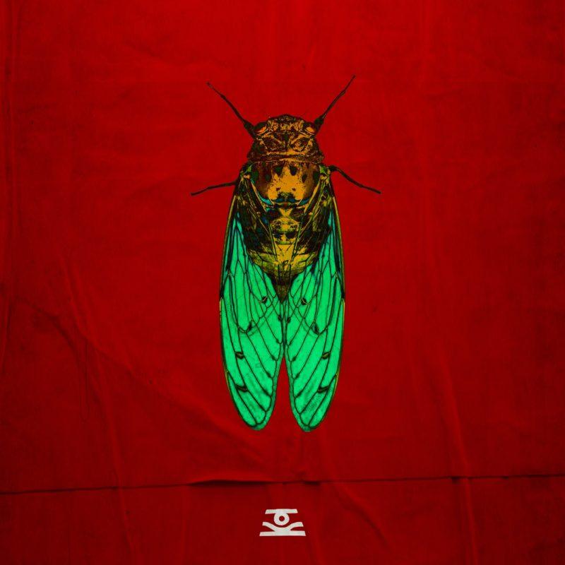 Capa do EP CIGARRA, de Overdrive Saravá. A imagem é composta por uma ilustração realista de uma cigarra, que está ao centro, em tons amarelados dourados e verdes sob um fundo vermelho. Embaixo, está o logo da banda num tom de branco acinzentado.