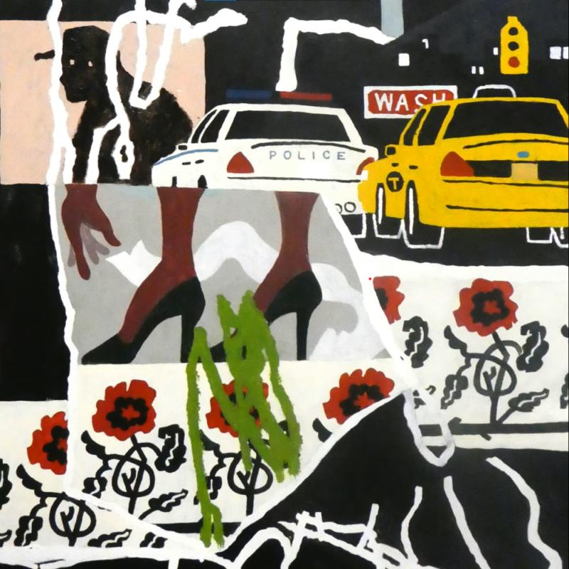 Capa do single Walking at a Downtown Pace, da banda Parquet Courts. Na animação, diversas imagens estão sobrepostas. De cima para baixo, há o desenho de um táxi de cor amarela e um carro de polícia de cor branca; um par de pés de cor marrom vestindo sapato de salto alto de cor preta; algumas rosas com as pétalas vermelhas mas com seus cabos em cor preta, e alguns rabiscos durante todo o desenho, sendo o do centro em cor verde e os demais em cor branca.