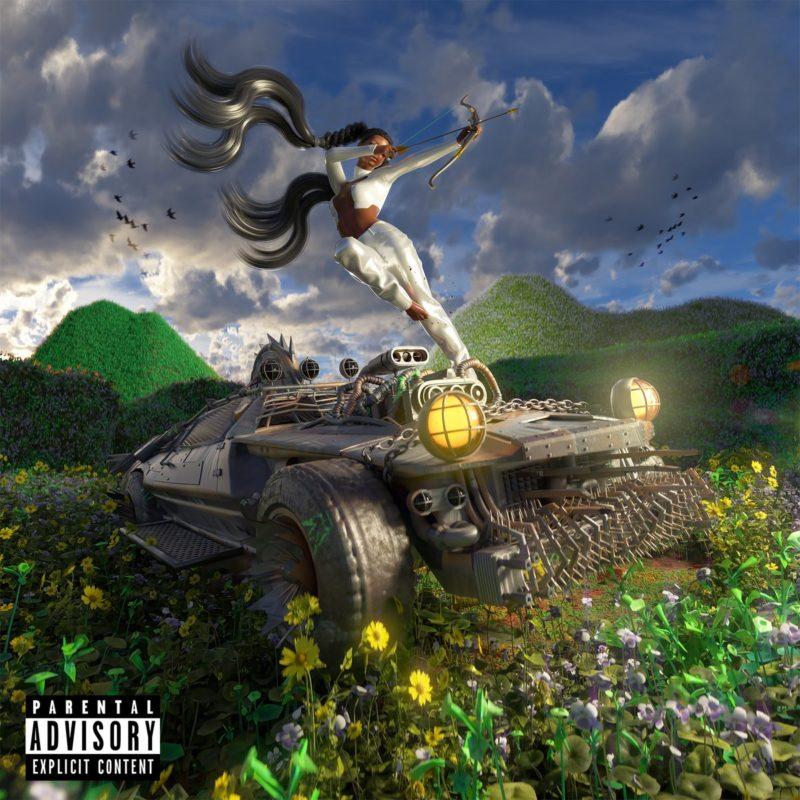 Capa do EP Last Year Was Weird, Vol. 3, da cantora Tkay Maidza. A foto é um desenho colorido, que mostra um camburão preto desbravando terras florestais bem verdes, com flores coloridas no chão. Uma mulher negra vestida de branco está acima do veículo, atirando com arco e flecha.