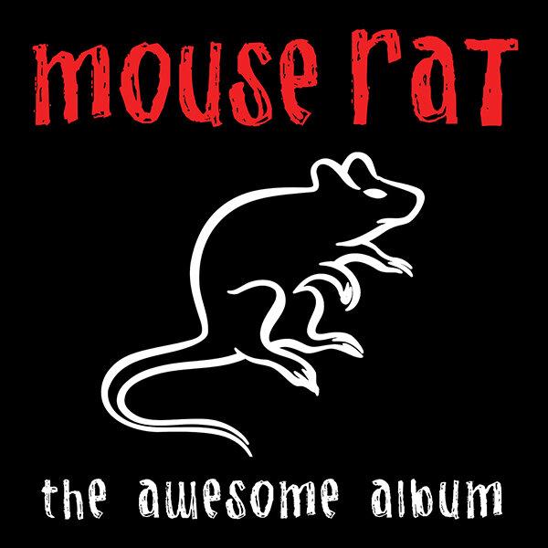 Capa do CD The Awesome Album, da banda Mouse Rat. A capa é preta, tem o nome da banda no topo da imagem, em vermelho, e um desenho de rato em branco, mesma cor em que está escrito o nome do CD, na parte de baixo da imagem.