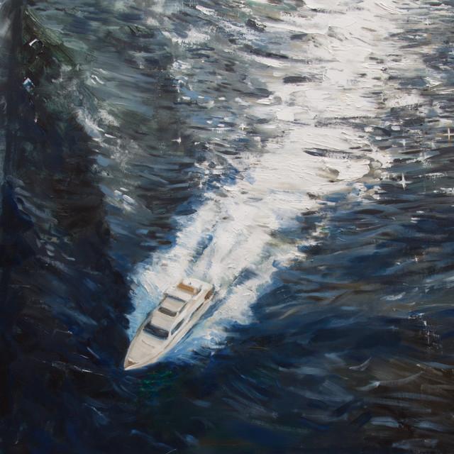 Capa do single Yate, de C. Tangana. A imagem é composta por uma pintura que observa de cima um iate rasgar o mar na diagonal, do canto superior direito para o inferior esquerdo. O mar é azul escuro e o iate é branco.