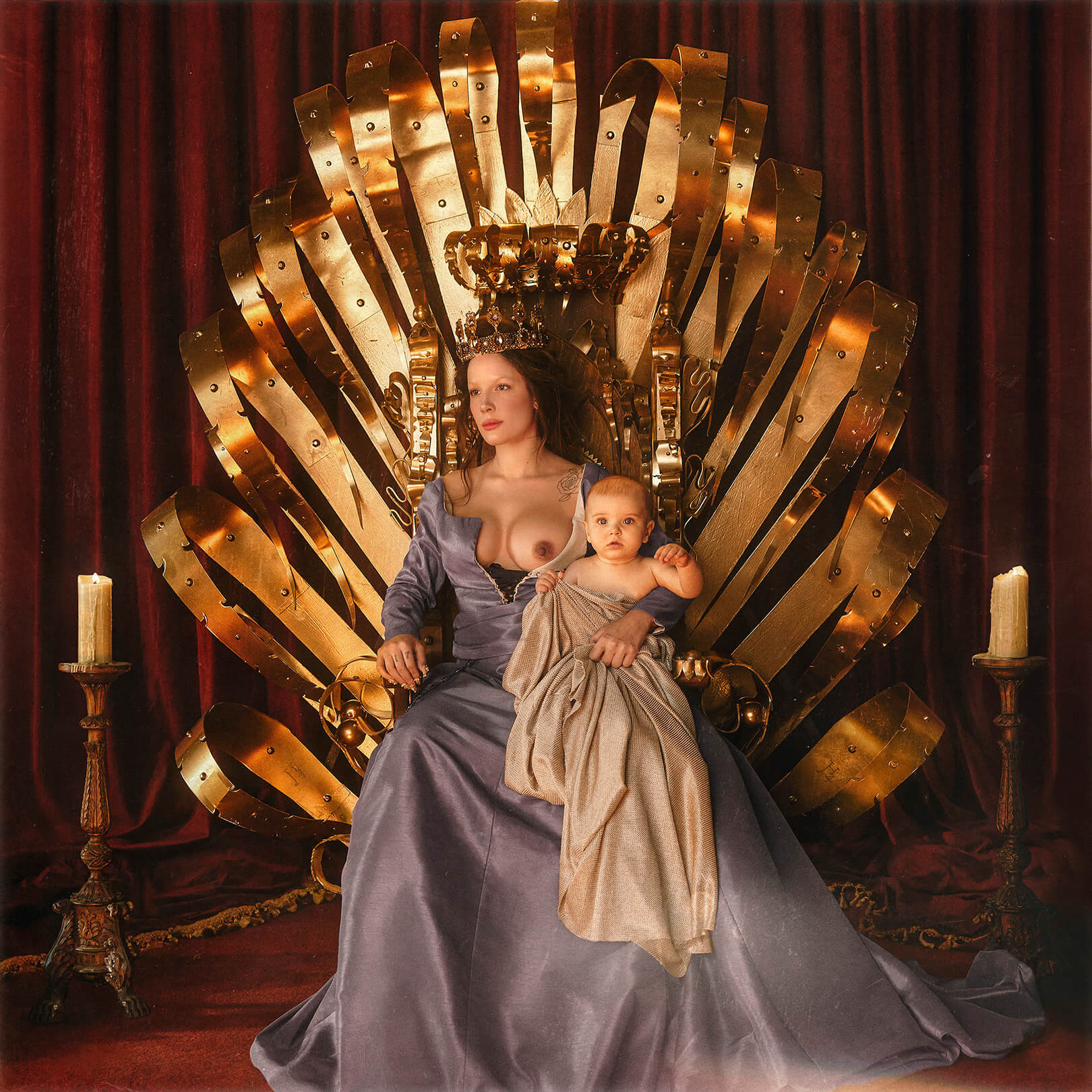 Capa do álbum If I Can't Have Love, I Want Power da cantora Halsey. Na frente de um fundo de cortinas vermelhas, Halsey se senta sobre um trono dourado. Ela olha para o lado esquerdo com serenidade. Seu cabelo é castanho e está preso para trás. Em sua cabeça, ela usa uma grande coroa de ouro. Ela veste um longo vestido azul e seu seio direito está exposto. Em seu colo, um bebê olha para a frente.