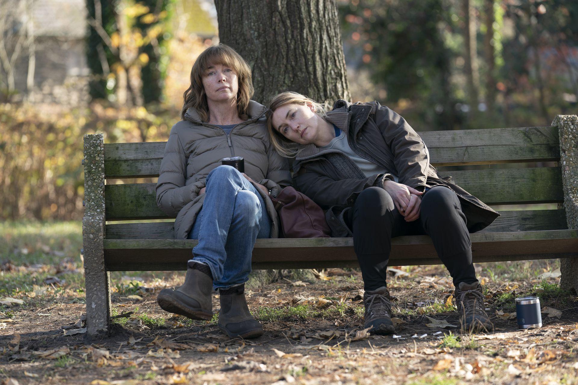 A imagem é uma cena da série Mare of Easttown. Nela, Julianne Nicholson, que interpreta Lori, está sentada em um banco em um bosque ao lado de Kate Winslet, que interpreta Mare. Lori é uma mulher branca, de cabelos castanhos claros na altura dos ombros e com franja, ela veste um casaco cinza, calças jeans e botas marrons. Mare, que está com a cabeça apoiada no ombro esquerdo de Lori, é uma mulher branca, de cabelos loiros presos em um rabo de cavalo baixo, ela veste uma blusa cinza, uma jaqueta preta, calça legging preta e tênis marrons.