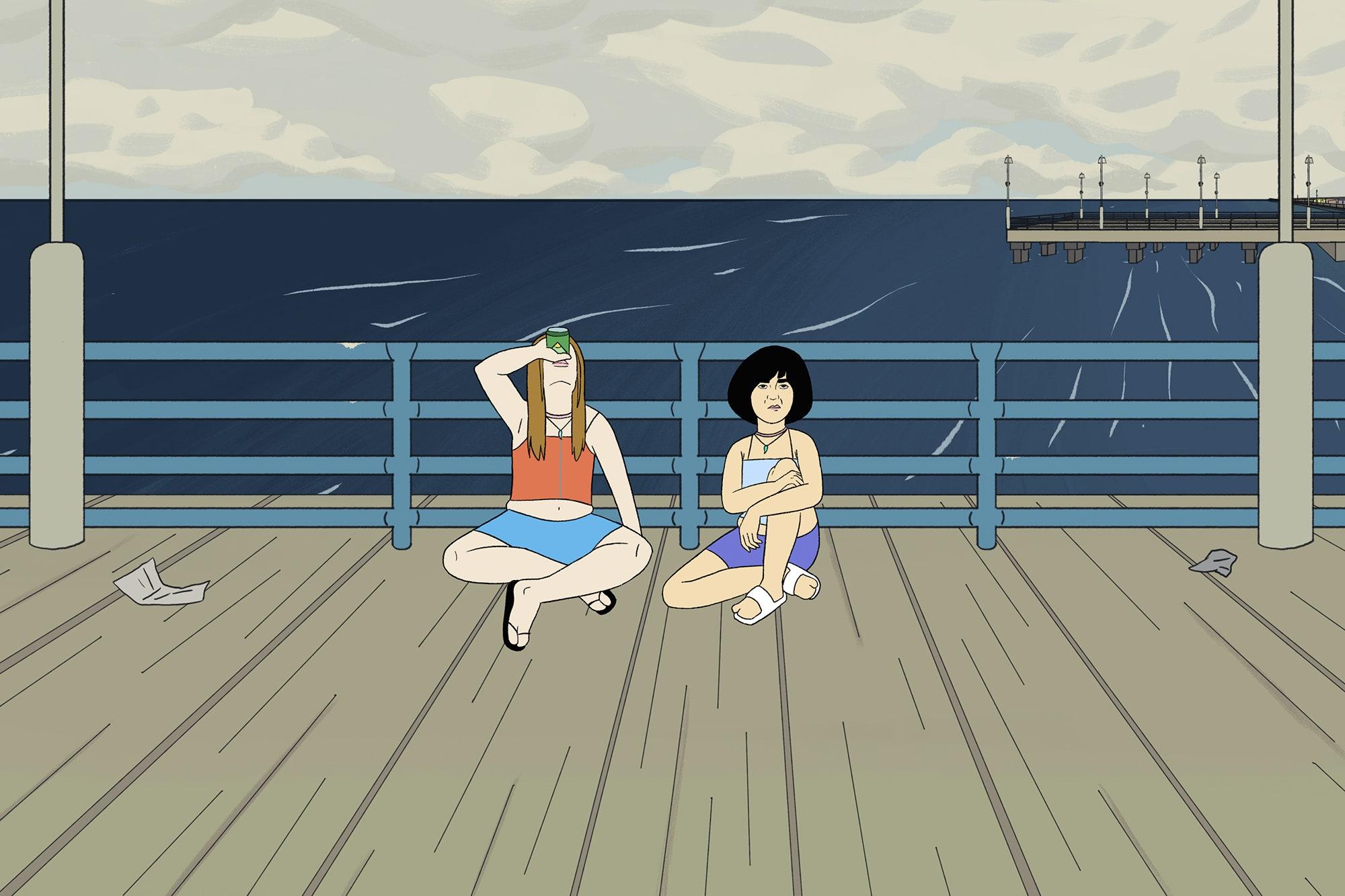 Cena do episódio animado de Pen15, Jacuzzi. A foto é um desenho no cais de uma praia e mostra Anna e Maya sentadas no cais. Está de dia, Anna é branca e loira e usa blusa laranja, enquanto Maya é asiática, tem cabelos pretos e curtos e usa roupa azul.