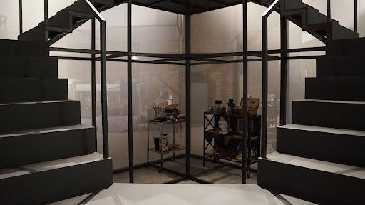 Cena do filme Terra das donzelas. A cena mostra duas escadas pretas e, entre elas, estão alguns objetos, como mesas e vasos, protegidos por vidro.