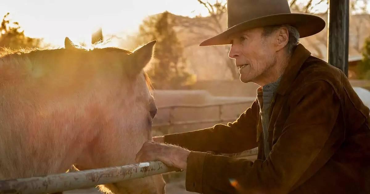 Texto alternativo: Cena do filme Cry Macho exibe um homem branco idoso, com chapéu de caubói, fazendo carinho em um cavalo. Ao fundo, vemos o entardecer. O homem veste um casaco marrom.